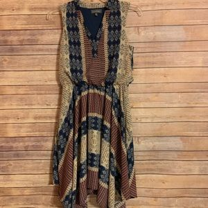 Luxology patchwork boho dress scarf hem